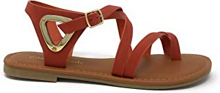 City Classified Comfort Womens JDValine Ankle Wrap Strap Sandal with Buckle Triangle Cut Out