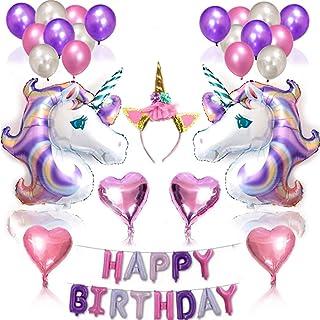 WENTS Globos de Unicornio 38PCS Unicornio Decoración de cumpleaños para niña Rosa Feliz cumpleaños Conjunto de pancartas U...