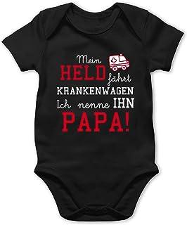 Shirtracer Sprüche Baby - Mein Held fährt Krankenwagen - Baby Body Kurzarm für Jungen und Mädchen