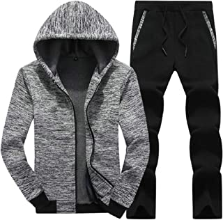 Sodossny-AU Men's Jackets Workout Hoodies Outfits Running Athletic 2PCS Sets Tracksuits