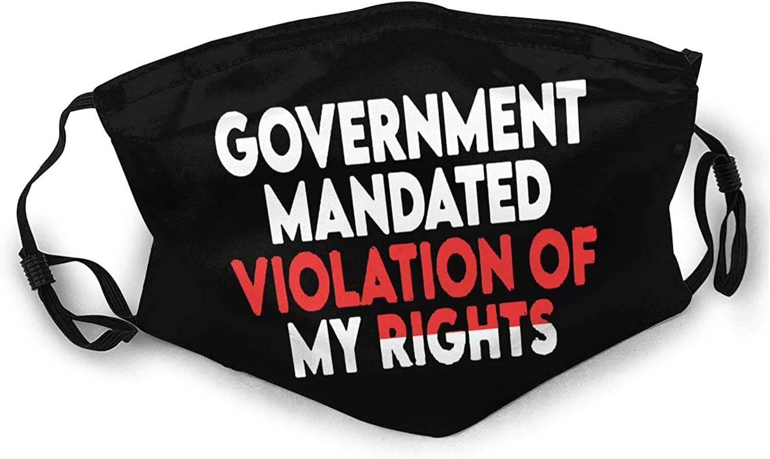 Government Mandated Violation of My Rights Funny Balaclava Mask Washable Breathable Reusable for Women Face Mask Black