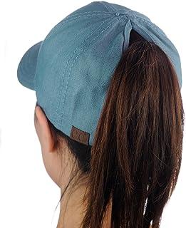 C.C Ponycap Messy High Bun Ponytail Adjustable Cotton Baseball Cap Hat 7c8acb73969c