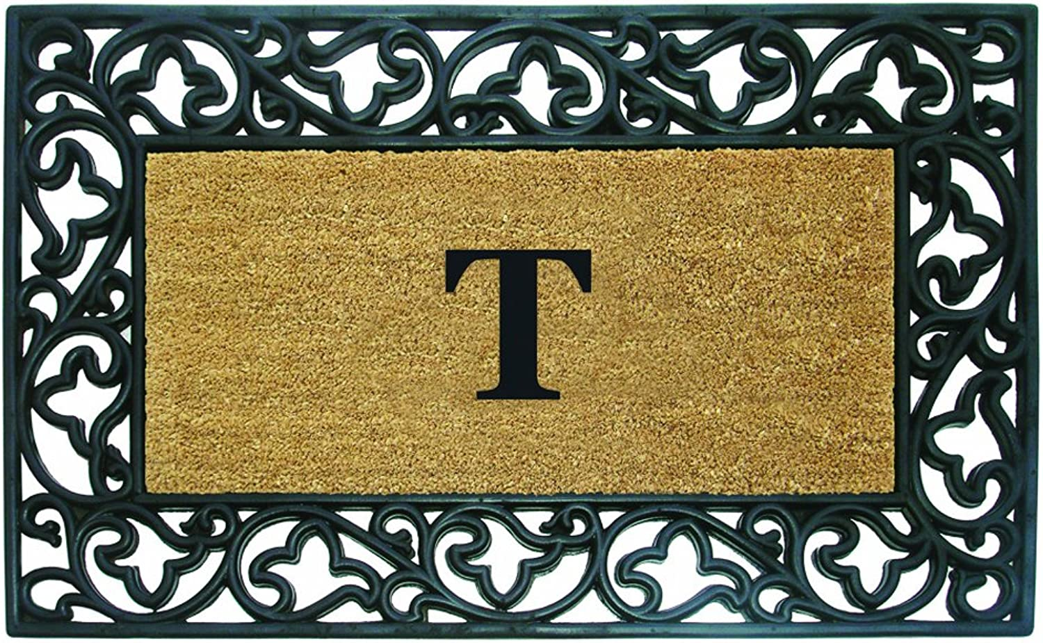 Nedia Home Acanthus Border with Rubber Coir Doormat, 30 by 48-Inch, Monogrammed T
