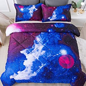Paxrac 3D Galaxy Comforter Set, Twin Size (68''x90'') 2 Pieces (1 Galaxy Blue Comforter, 1 Pillowcase), Universal Outer Space Bedding Set, Microfiber Lightweight Comforter Set for Kid, Boy, Girl, Teen