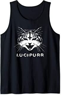Lucipurr Satanic Cat with Inverted Upside Down Cross Tank Top