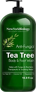 Tea Tree Body Wash - HUGE 16 OZ - Helps Nail Fungus, Athletes Foot, Ringworms, Jock Itch, Acne, Eczema & Body Odor, Soothes Itching & Promotes Healthy Skin and Feet, Packaging May Vary