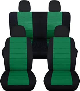 Totally Covers compatible with 2012-2018 Volkswagen New Beetle/Bug A5 Seat Covers: Black & Emerald Green - Full Set Front ...