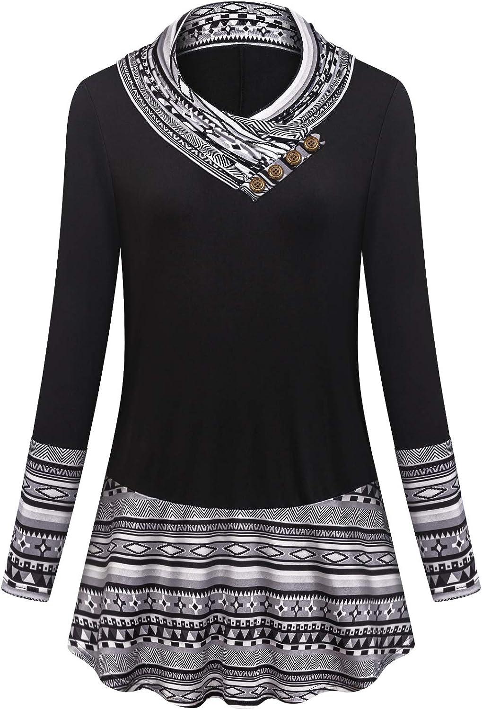 Tanst Sky Womens Long Sleeve Cowl Neck Sweatshirts Flowy Loose Fit Tunics Tops