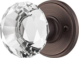 Decor Living, AMG and Enchante Accessories, Diamond Crystal Door Knobs, Passage Function for Hall and Closet, Venus Collection, Venetian Bronze