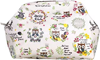 DollyClub Stylish Waterproof Big Opening Easy Access Travel Cosmetic Bag, Toiletries Organizer, White Owl Pattern Design