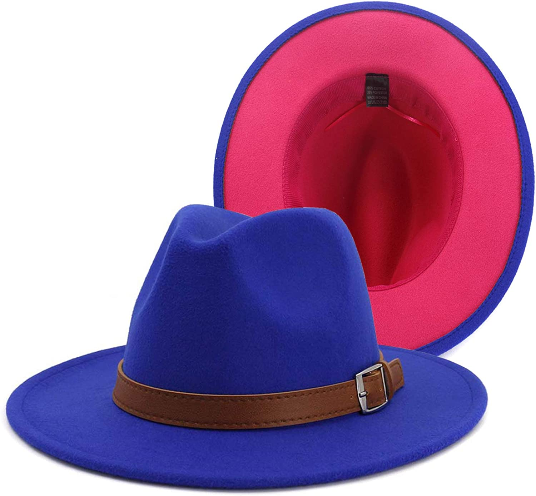 Gossifan Women Hats Fashion Wide Brim Fedora Hat Retro Style Belt Panama Hat