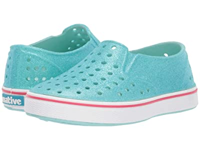Native Kids Shoes Miles Bling (Toddler/Little Kid) (Hydrangea Blue Bling Glitter/Shell White) Girls Shoes