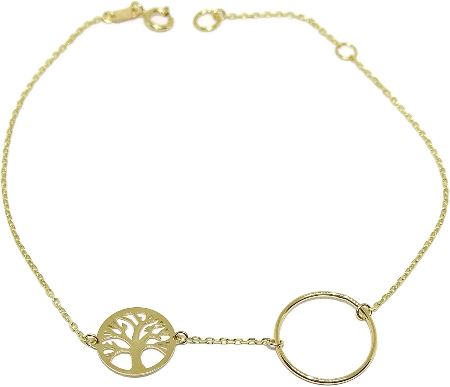 Never say Never Tree of Life Bracelet 18K Yellow Gold for Women   Circle Karma Charm Links Bangle 19cm long   1.05g Real Gold   Symbolic Jewelry   Meaningful Gift for Her