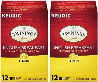 Twinings English Breakfast Lemon Flavoured Black Tea Keurig K-Cup Pods (24 Count)