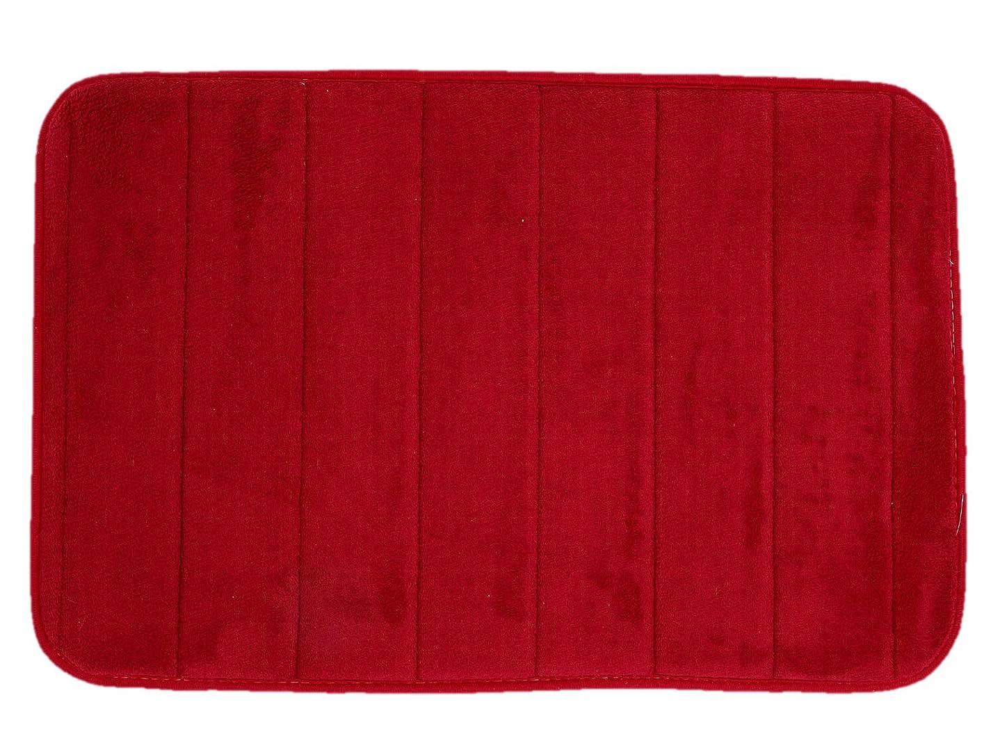 分類する文明化文明化LuckyTail バスマット フロアマット 足ふきマット 吸水 速乾 丸洗い 洗濯 滑り止め仕様 台所 風呂 玄関 やわらか マット (レッド, 40×60cm)