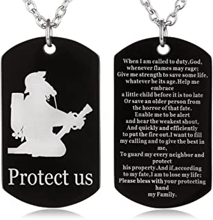 FAYERXL Firefighter's Prayer Protect us Dog Tag Necklace Military Fireman Protection Pendant Men Dad Gift