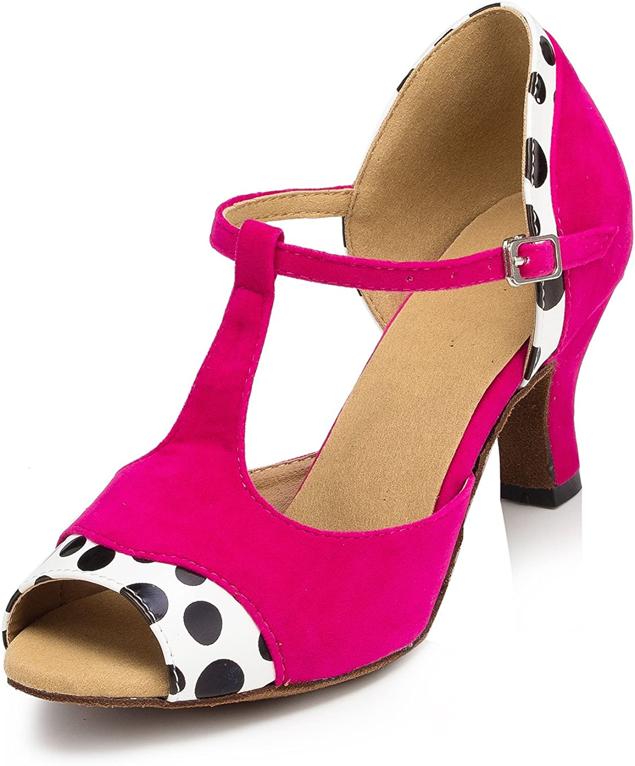 URVIP Women's PU Leather Heels Pumps Modern Latin Tango shoes Cross Ankle Strap Buckle Dance shoes LD040