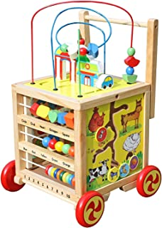 Timy Wooden Learning Bead Maze Cube 5 in 1 Activity Center Educational Toy