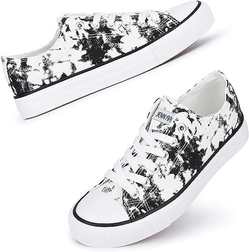 JENN ARDOR Women's Canvas Low Top Sneakers Classic Lace-up Casual Shoes Fashion Platform Comfort Walking Flats