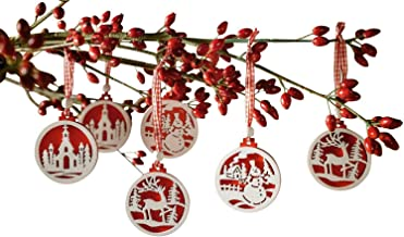 khevga Set of 18 Christmas Tree Decorations - Made of Wood in red and White
