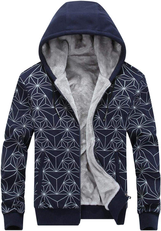 Men's Fleece Hoodie Jackets Wool Warm Thick Pullover Winter Workout Full Zip Coats