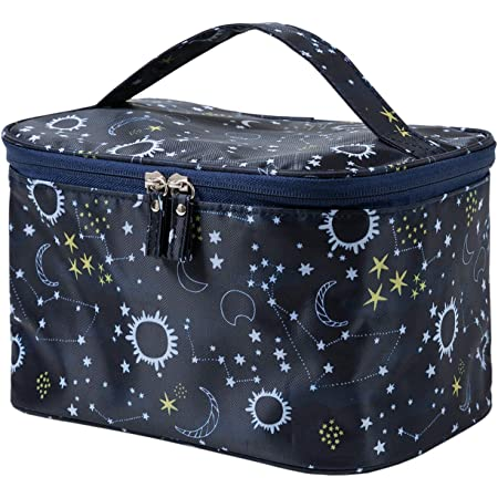 HOYOFO Large Makeup Bag for Women Travel Cosmetic Bags with Handle Waterproof Toiletry Storage Bag Make up Bag Travelling, Starry Sky