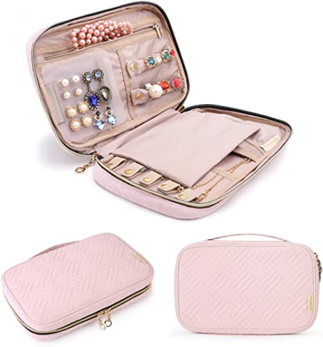 BAGSMART Jewelry Organizer Case Travel Jewelry Storage Bag for Necklace, Earrings, Rings, Bracelet, Light Pink