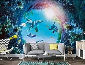 HandPiao Papel Tapiz Fotográfico 3D Papel De Pared Murales Delfín del Mundo Submarino 3D Papeles Pintados Fotomurales para Dormitorio Sala De Estar Oficina (W) 300X(H) 210Cm