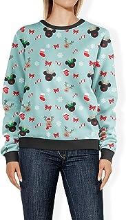 Rainbow Rules Christmas Mickey & Minnie Reindeers Disney Inspired Womens Sweatshirt