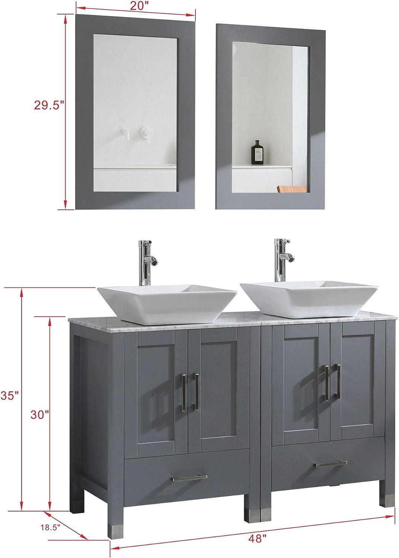 Buy 48 Double Sink Bathroom Vanity Cabinet Combo Glass Marble Top Grey Paint Wood W Faucet Mirror Drain Set Solid Wood Marble Top Online In Turkey B07t35vx17