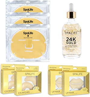 Spa Life Gold Skin Care 8 Pack Set with Facial Mask, Serum, Lip and Eye Mask
