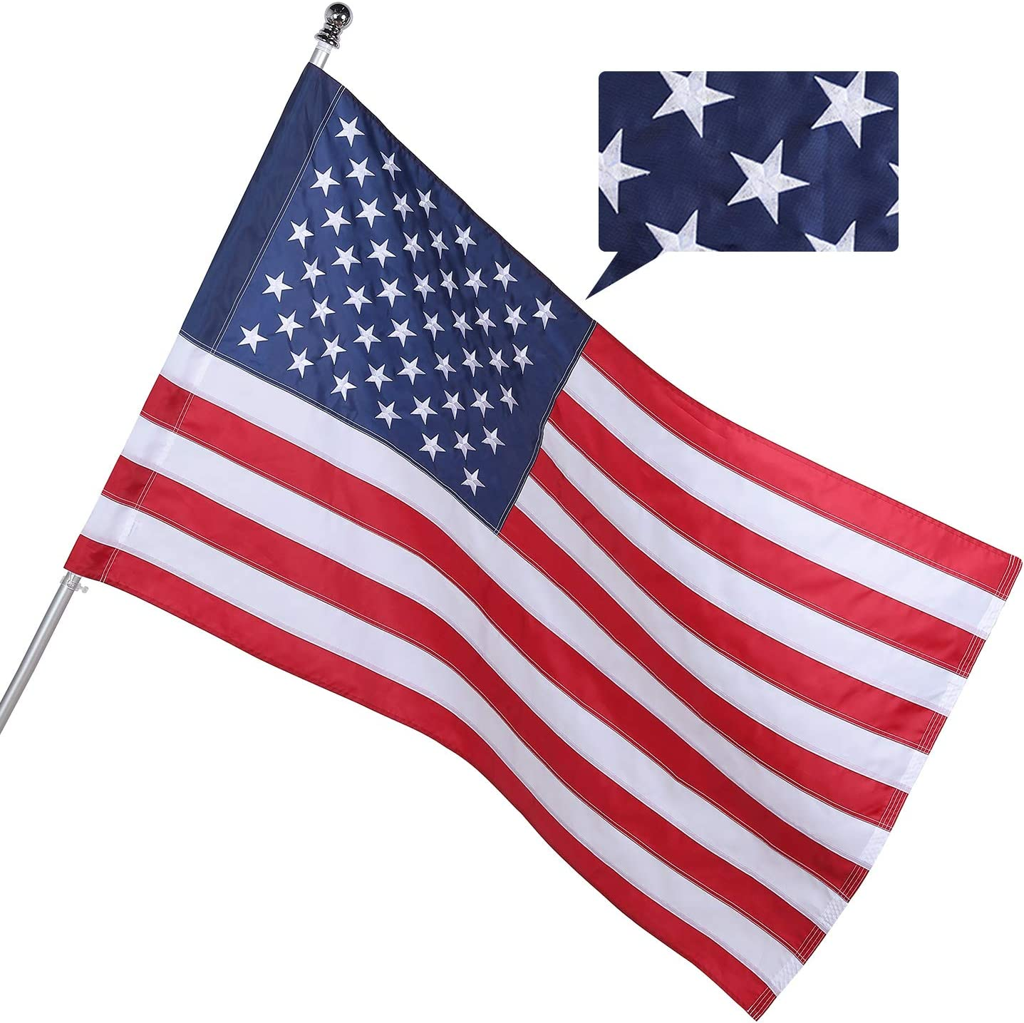 American Flag 3x5 FT Outdoor Atlanta Mall Pole Outlet ☆ Free Shipping Sleeve Hea Losong Style Banner