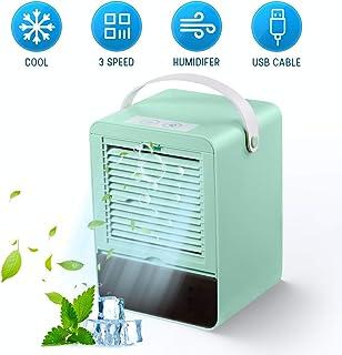 GHONLZIN Enfriador de Aire Silencioso Mini Air Cooler Humidificador con 3 Velocidades para Oficina en Casa (Verde)