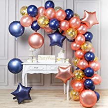 PartyWoo Navy Blue Rose Gold Balloons, 68 pcs Navy Blue Balloons, Rose Gold Foil Balloons, Gold Confetti Balloons, Round Star Foil Balloons for Rose Gold Party Decorations, Rose Gold Bachelorette