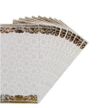10 x Indian Shagun Gift Envelopes White Paisely Gold Money Cash Gift Wallets