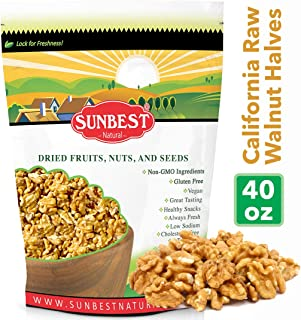 Sunbest Natural Raw Shelled California Walnuts, Walnuts Halves Walnuts for Baking or Snack (2.5 Lb)