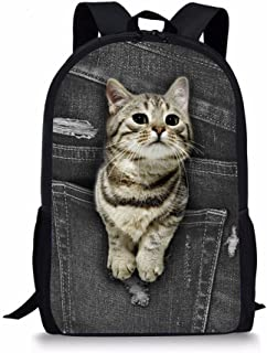 Cool 3D Animal - Mochila escolar para niños, Gato de bolsillo (Negro) - Y-CC3319C