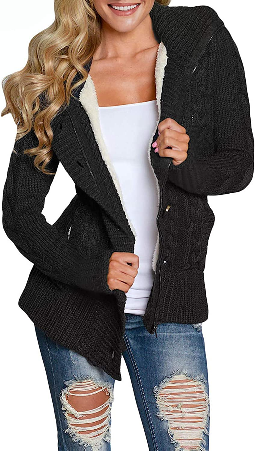 Asvivid Womens Button Down Cable Knit Cardigans Fleece Hooded Sweater Coats with Pockets
