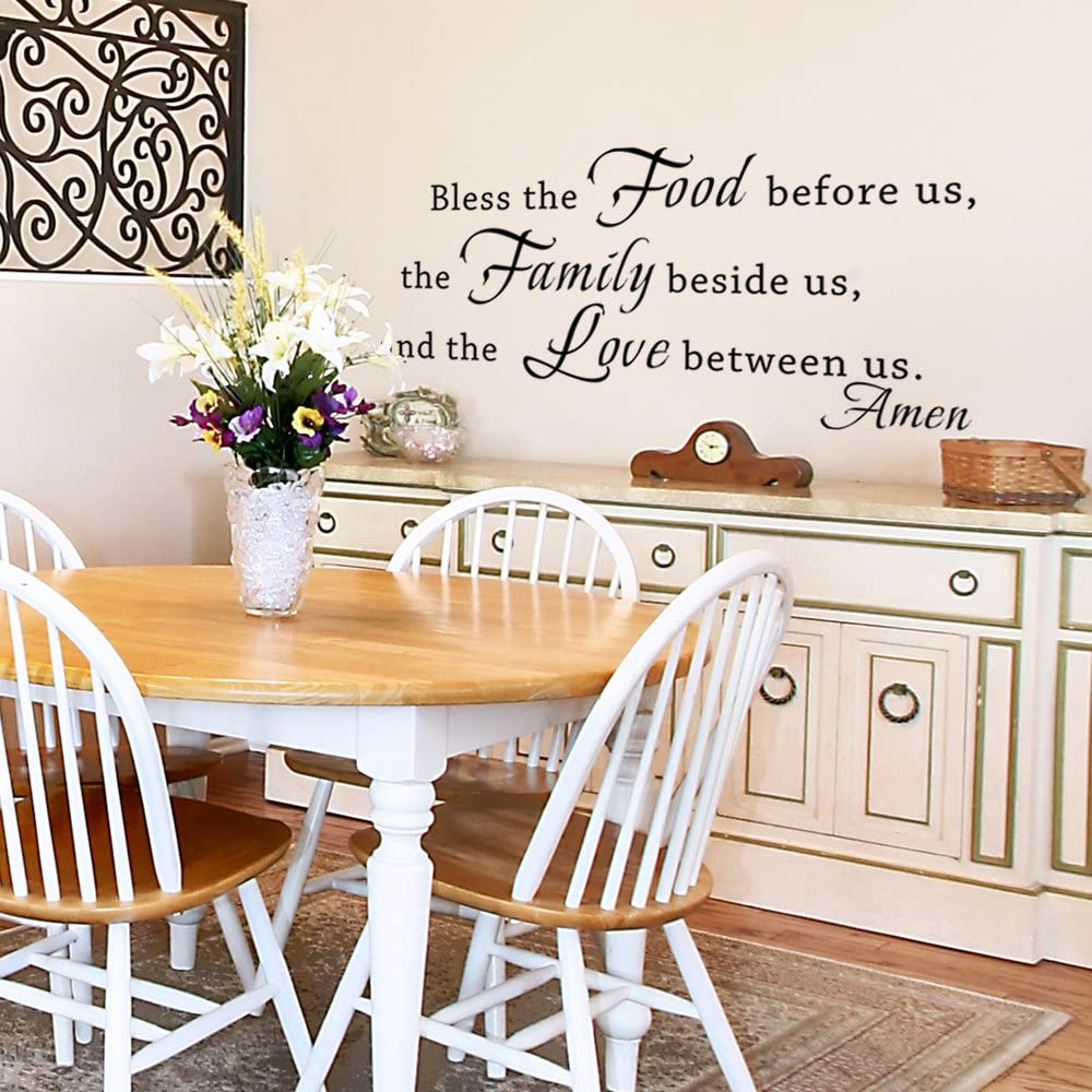 Bless The Food Before Us Wall Decal, Kitchen Wall Art, Vinyl Lettering,  Dining Room Wall Words, Wall Sticker, Family Wall Decor (9x9 Black)