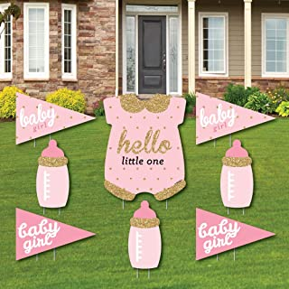Hello Little One - Pink and Gold - Yard Sign & Outdoor Lawn Decorations - Girl Baby Shower Yard Signs - Set of 8