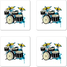 Lunarable Drums Coaster Set of 4, Rock and Roll Drums Indie Country Folk Western Shows Concert Grunge Graphic, Square Hardboard Gloss Coasters for Drinks, Multicolor