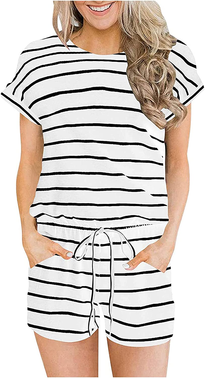 Leirke Women's Summer Crewneck Casual Loose Short Sleeve Jumpsuit Rompers One Piece Pajamas Loungewear with Pockets