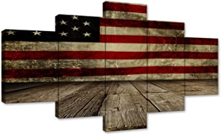 5 Piece Vintage American Flag Painting on Canvas Soldier Hold Gun Wall Art Independence Day Artwork USA Home Decor Pictures for Living Room Poster and Prints Framed Ready to Hang (60''W x 32''H)