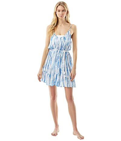 MICHAEL Michael Kors Tie-Dye Daydream Cover-Up Dress with Tassel Belt (Crew Blue) Women