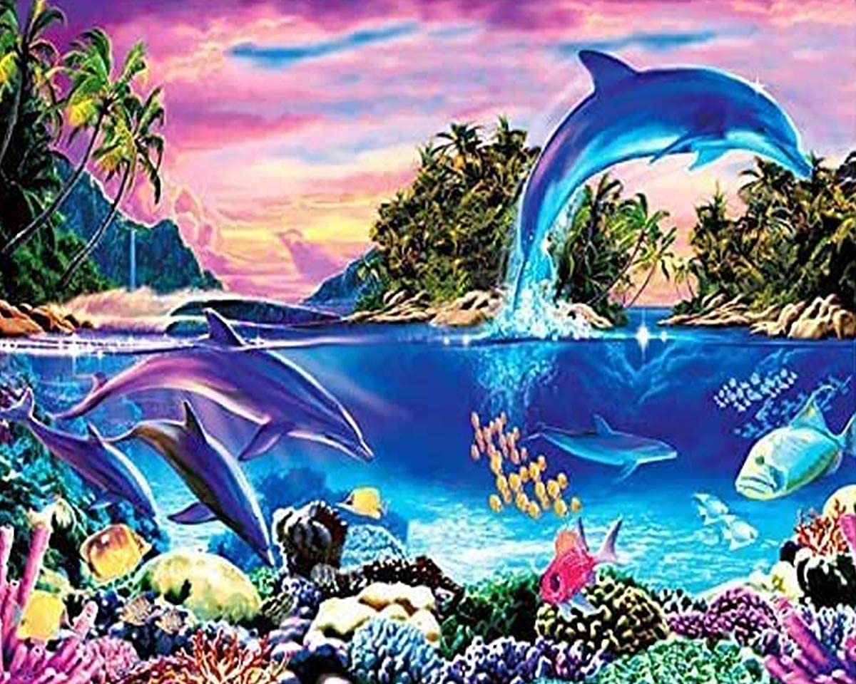 Coolstek Paint by Numbers Kits for Kids Adults Beginner DIY Acrylic Oil Painting On Canvas 16 x 20 inch Dolphin Bay-Without Frame