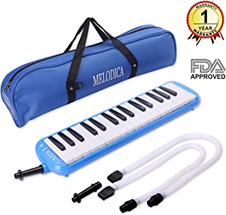 CAHAYA Melodica FDA Approved 2 Double Mouthpieces Tube Sets Pianica Melodicas Piano Style 32 Key Portable with Carrying Bag [New Version] (Blue)