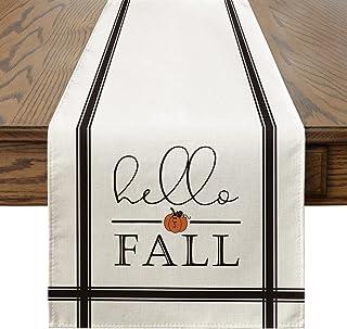 Artoid Mode Hello Fall Pumpkin Table Runner, Seasonal Harvest Vintage Thankgiving Kitchen Dining Table Decoration for Indo...