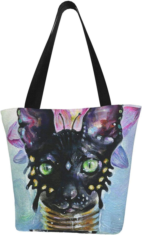 Long Neck Collar Black Cat Lotus Themed Printed Women Canvas Handbag Zipper Shoulder Bag Work Booksbag Tote Purse Leisure Hobo Bag For Shopping