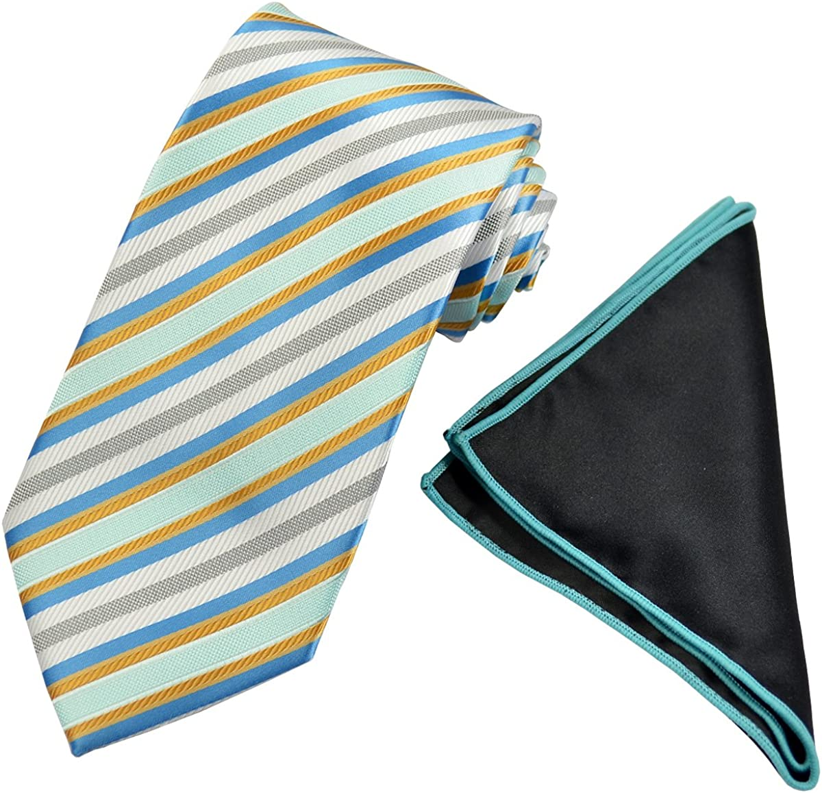 Turquoise Tie with Contrast Pocket Square Set