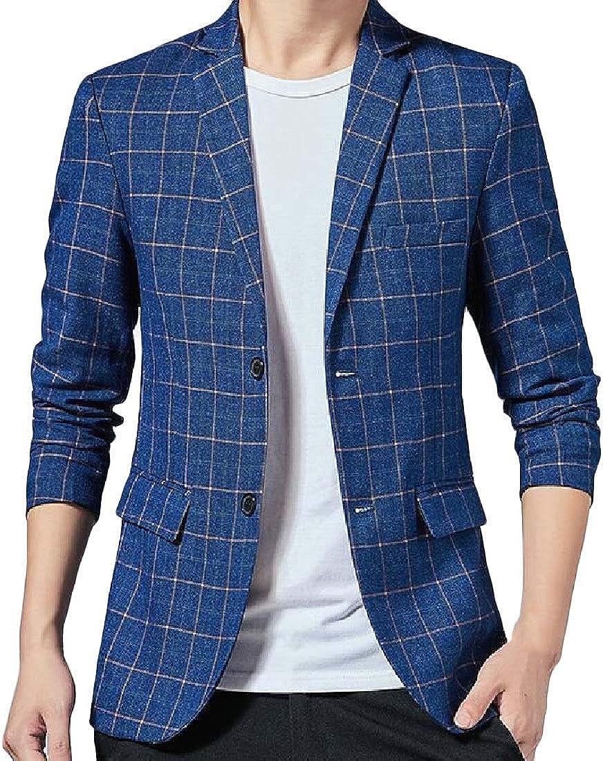 Men Plaid Casual 2 Button Lapel Slim Fit Dress Blazer Jacket Sport Coat